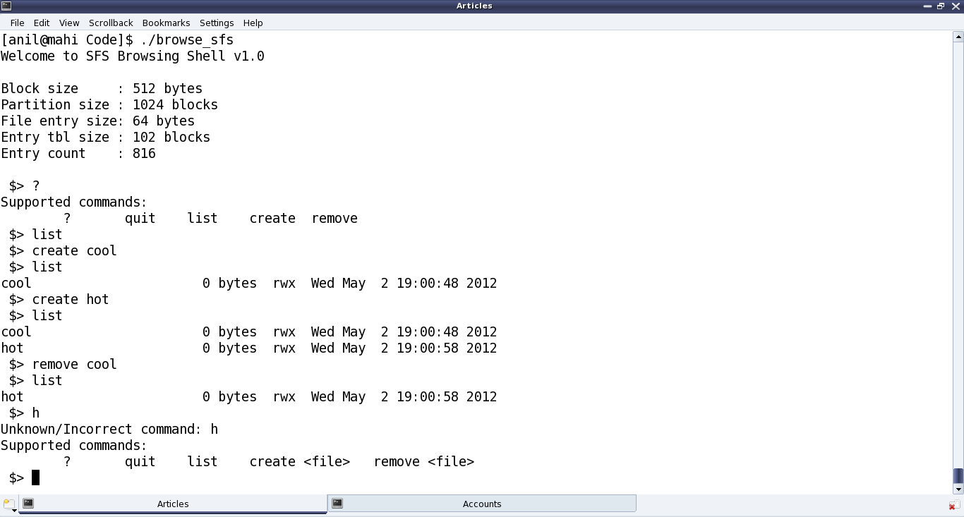 Figure 34: Simula file system browser output