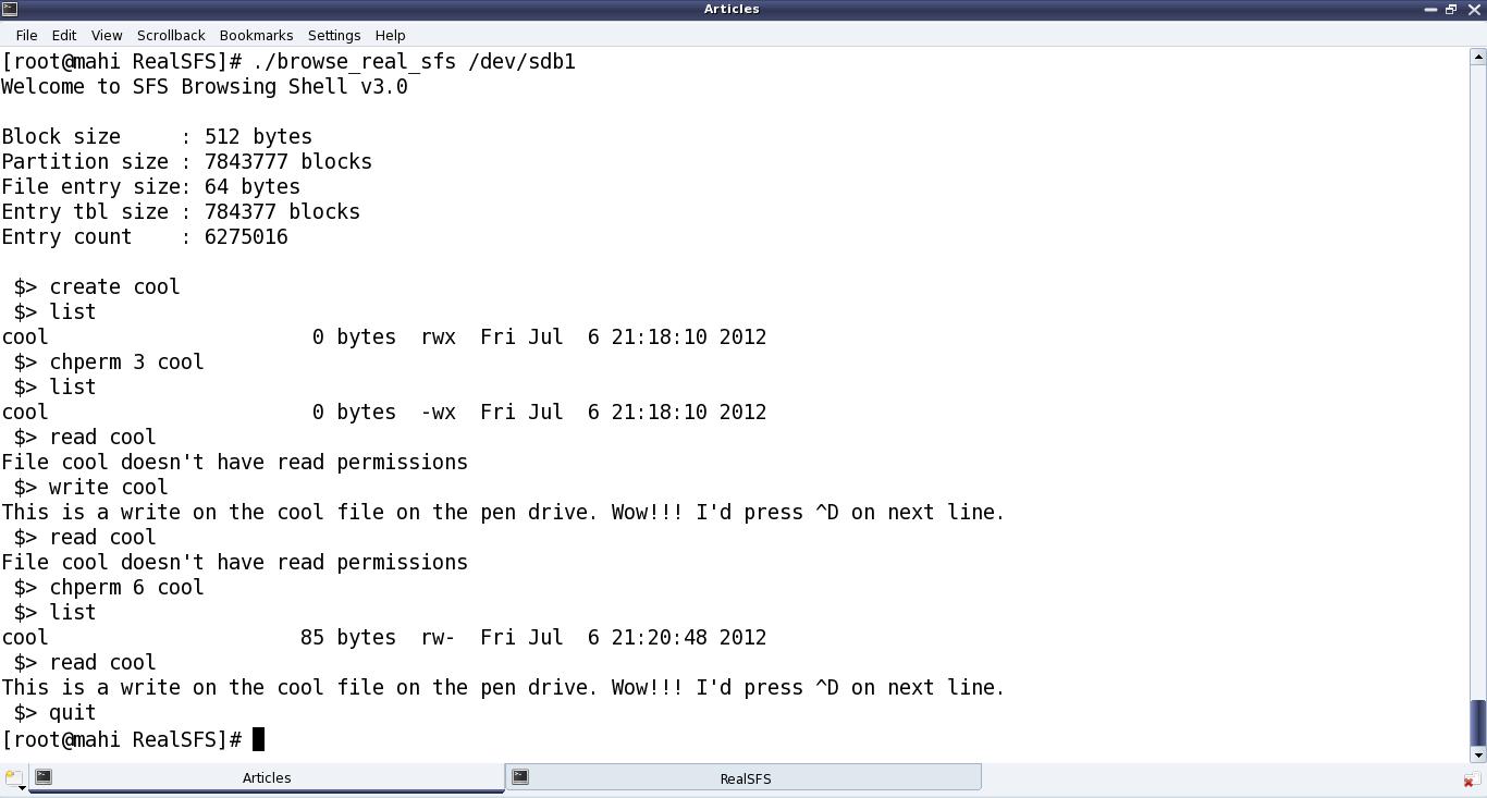 Figure 37: SFS browser on pen drive