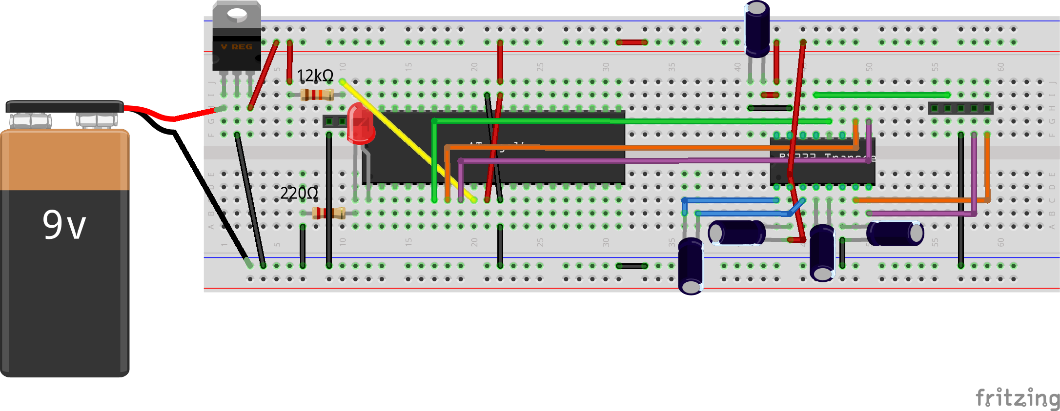 AVR Programming Bread Board Connections