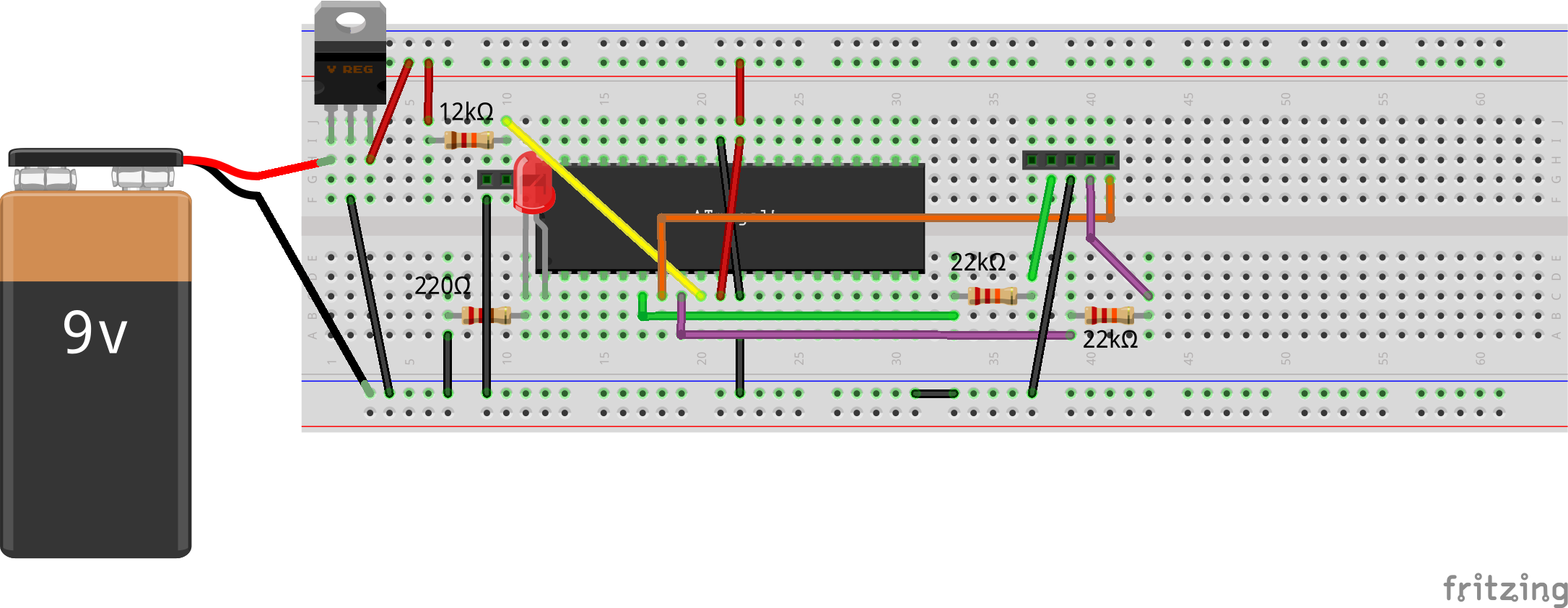 AVR Programming Simplified Bread Board Connections