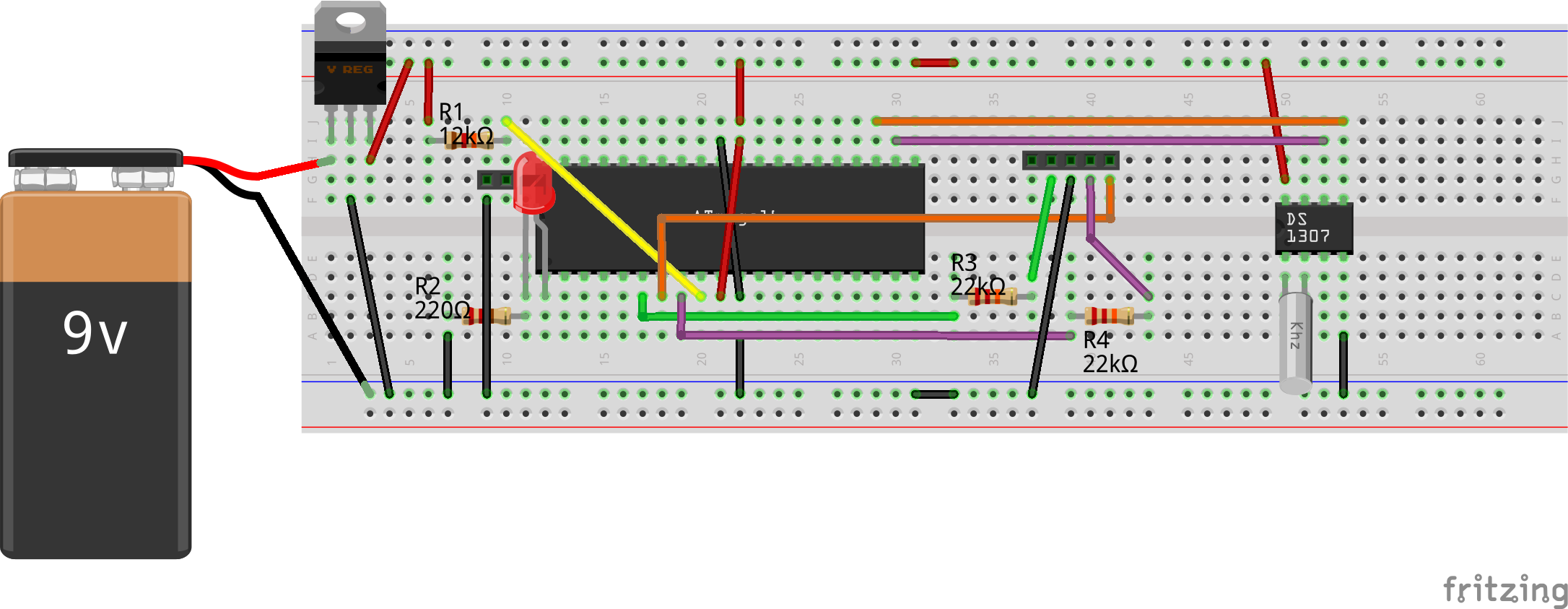AVR RTC Interfacing Bread Board Connections