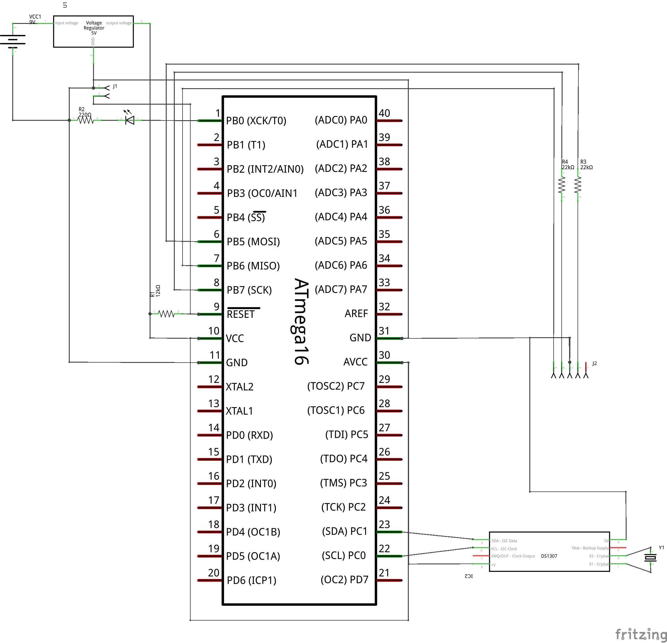 AVR RTC Interfacing Schematic