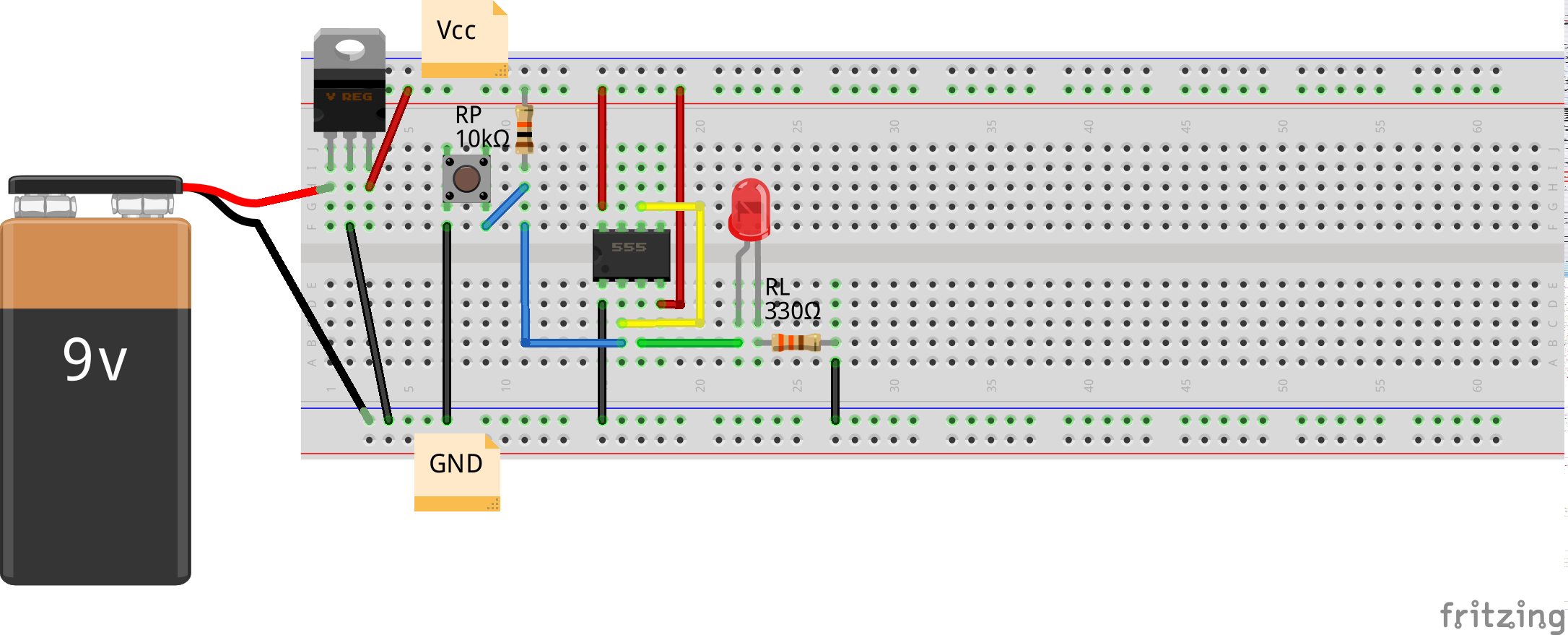 Bistable (Level Inversion) using 555 (Breadboard)