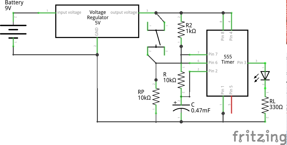 Monostable High (Low Pulse) using 555 (Schematic)