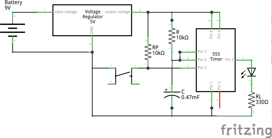 Monostable Low (High Pulse) using 555 (Schematic)