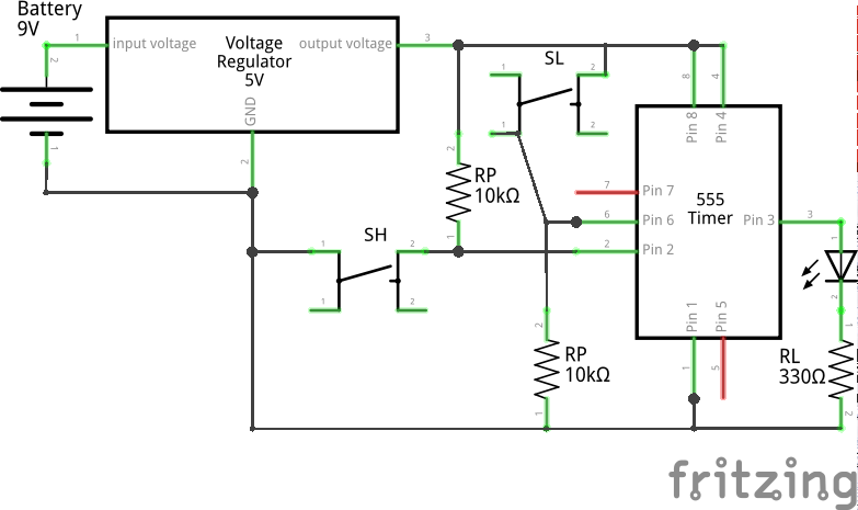 Bistable (Schmitt Trigger Circuit 1) using 555 (Schematic)