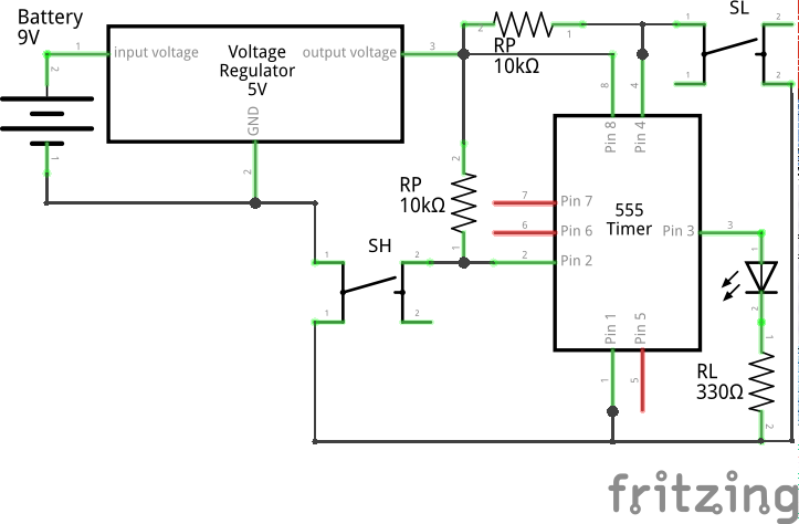 Bistable (Schmitt Trigger Circuit 2) using 555 (Schematic)